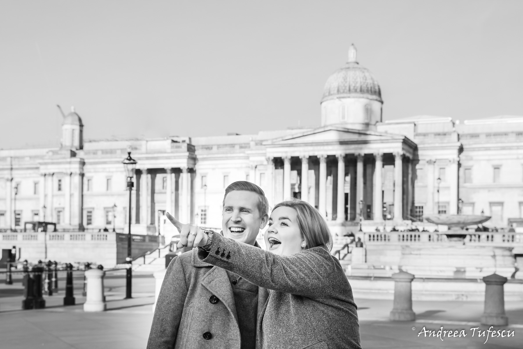 Engagement Photoshoot Central London Trafalgar Square L & A