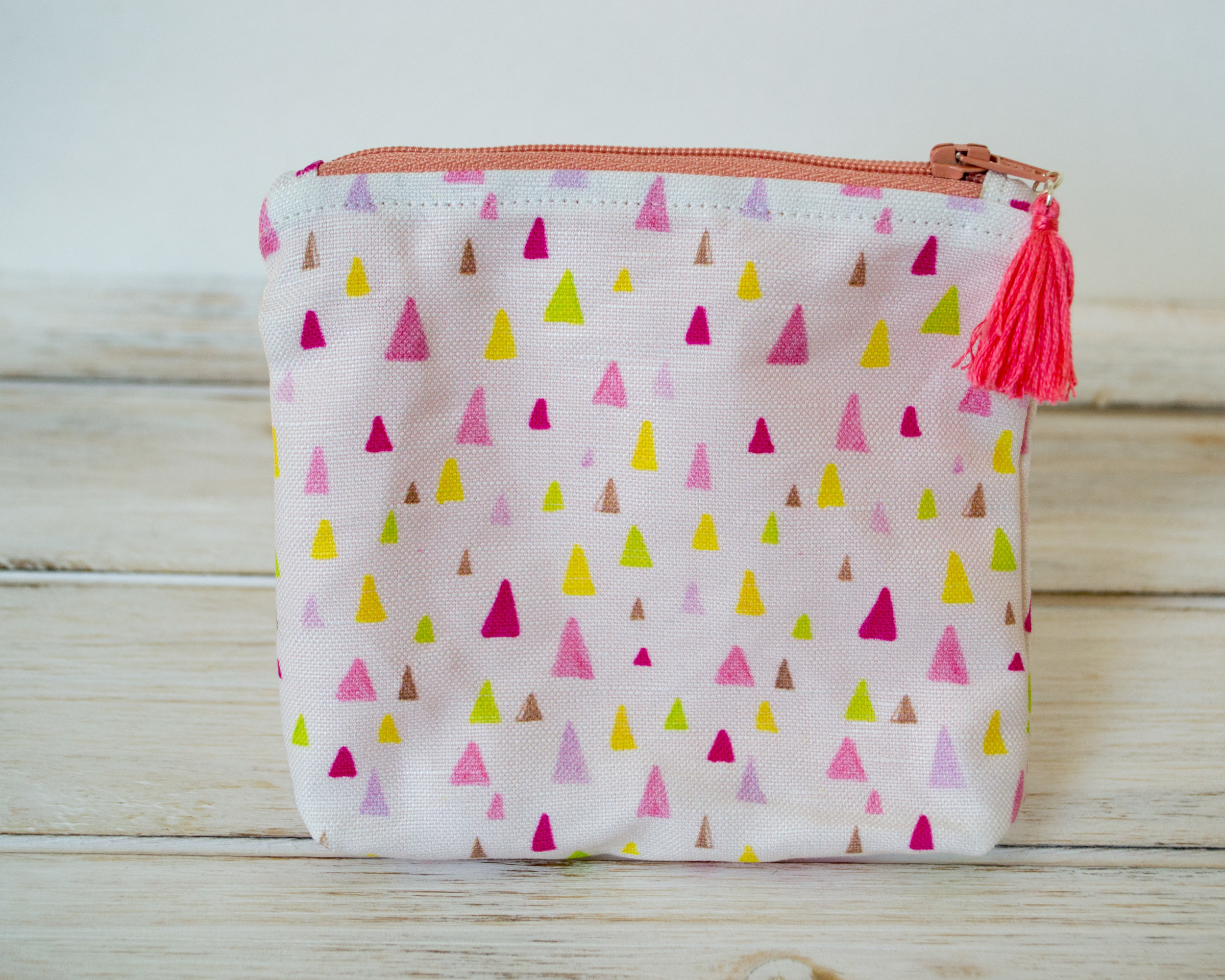 Tiny Triangles Zipper Pouch With Coral Lining