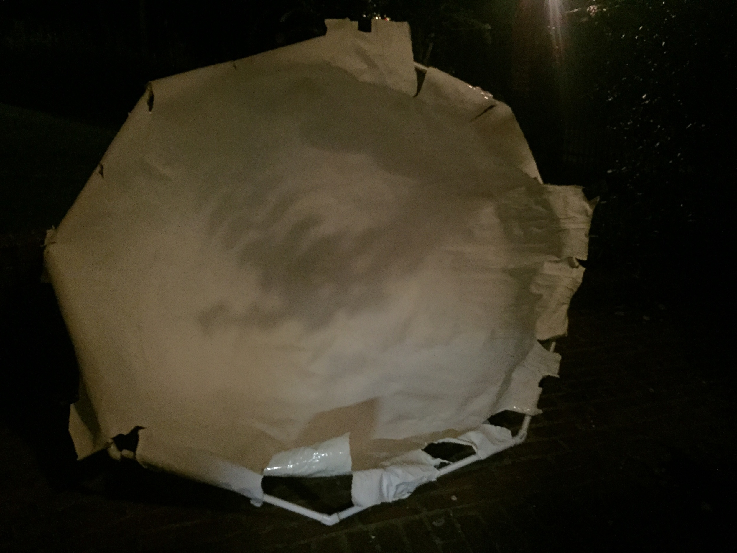 I tried attaching the StyroSpray dome to a PVC frame, just to experiment with. The biggest problem is, the danged smell of the stuff lingered for over a week, it was too strong to bring inside The once perfect interior of the bubble did get weathered and wrinkled.