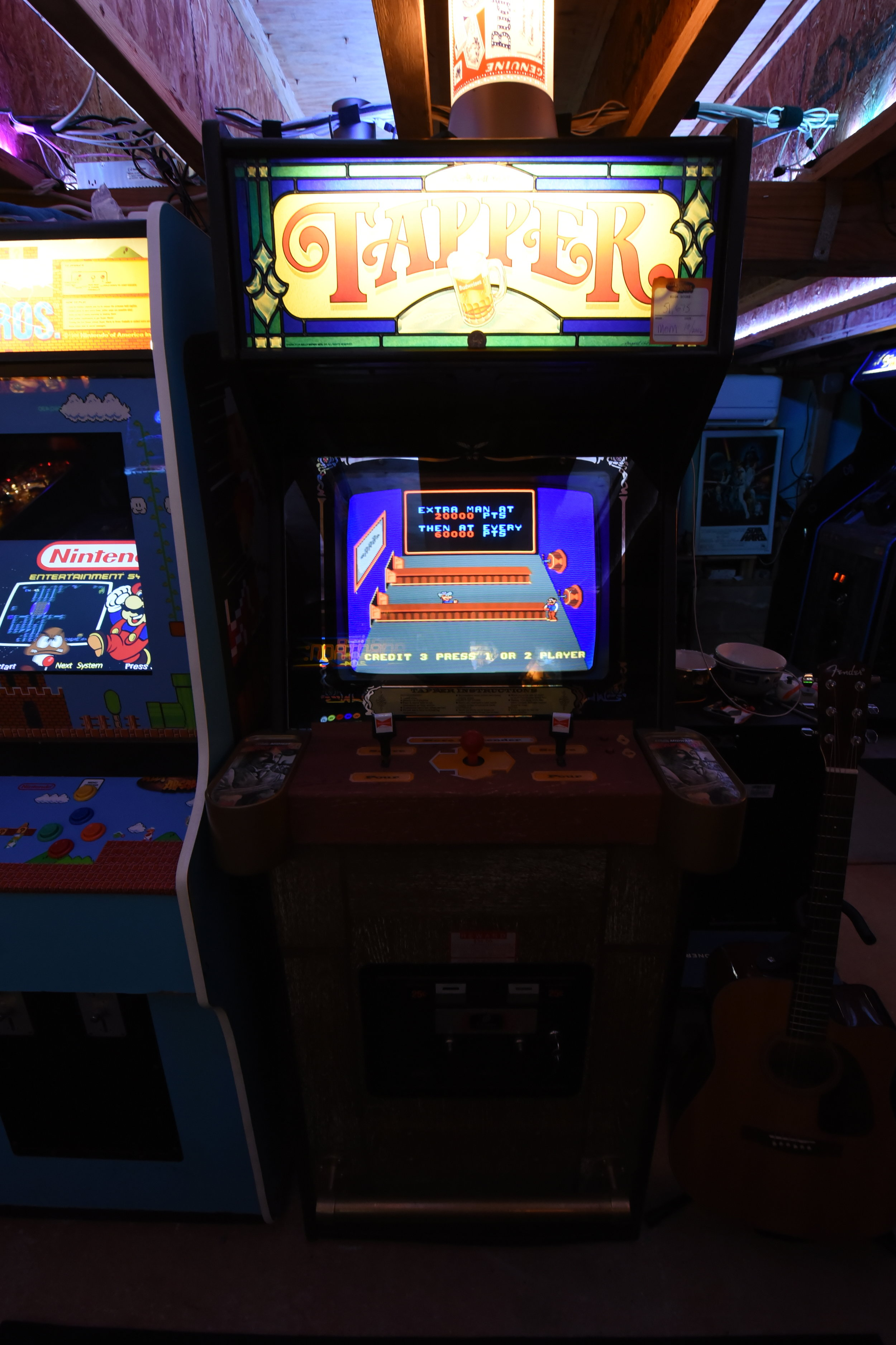 "Owning a 3400 in 1 Games Family Multi-Cade I noticed my wife always played Tapper on it. Took awhile to find this one and a little work to get it to this point. Reproduction CPO, powder coated cup holders. Monitor issues galore... I eventually found an overpriced 19"" Vision Pro CRT that works well in it with original mounting and wiring. It has the high score save kit & switching power supply on a factory harness."