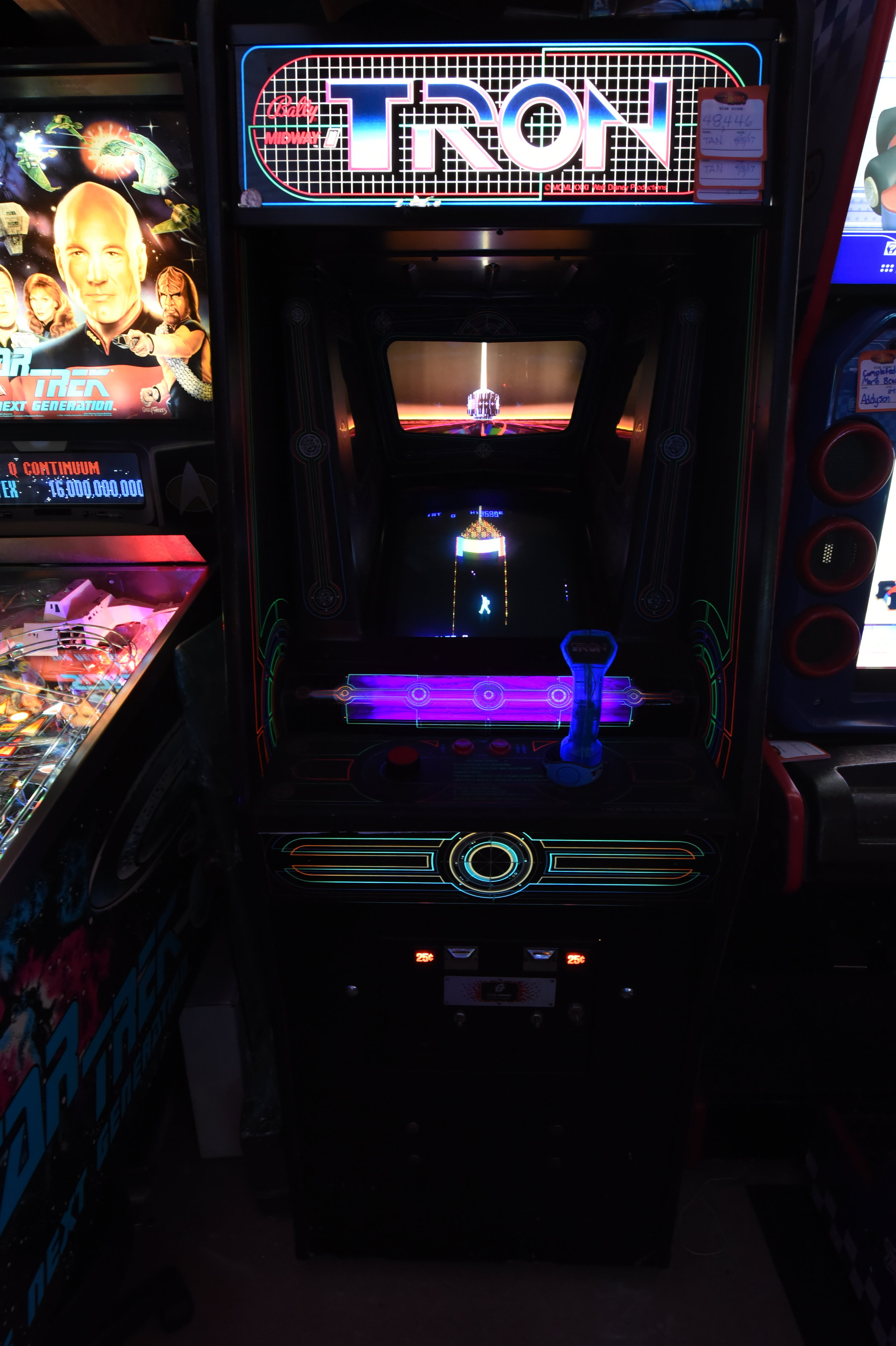 My Tron has some of the usual lower particle board damage but isn't bad. The Artwork and Marquee are pretty good but not perfect. Let's call it authentic battle-damage. :) Picked it up from a Pawn shop in Saraland thinks to a heads up from fellow collector-friend, Mike.