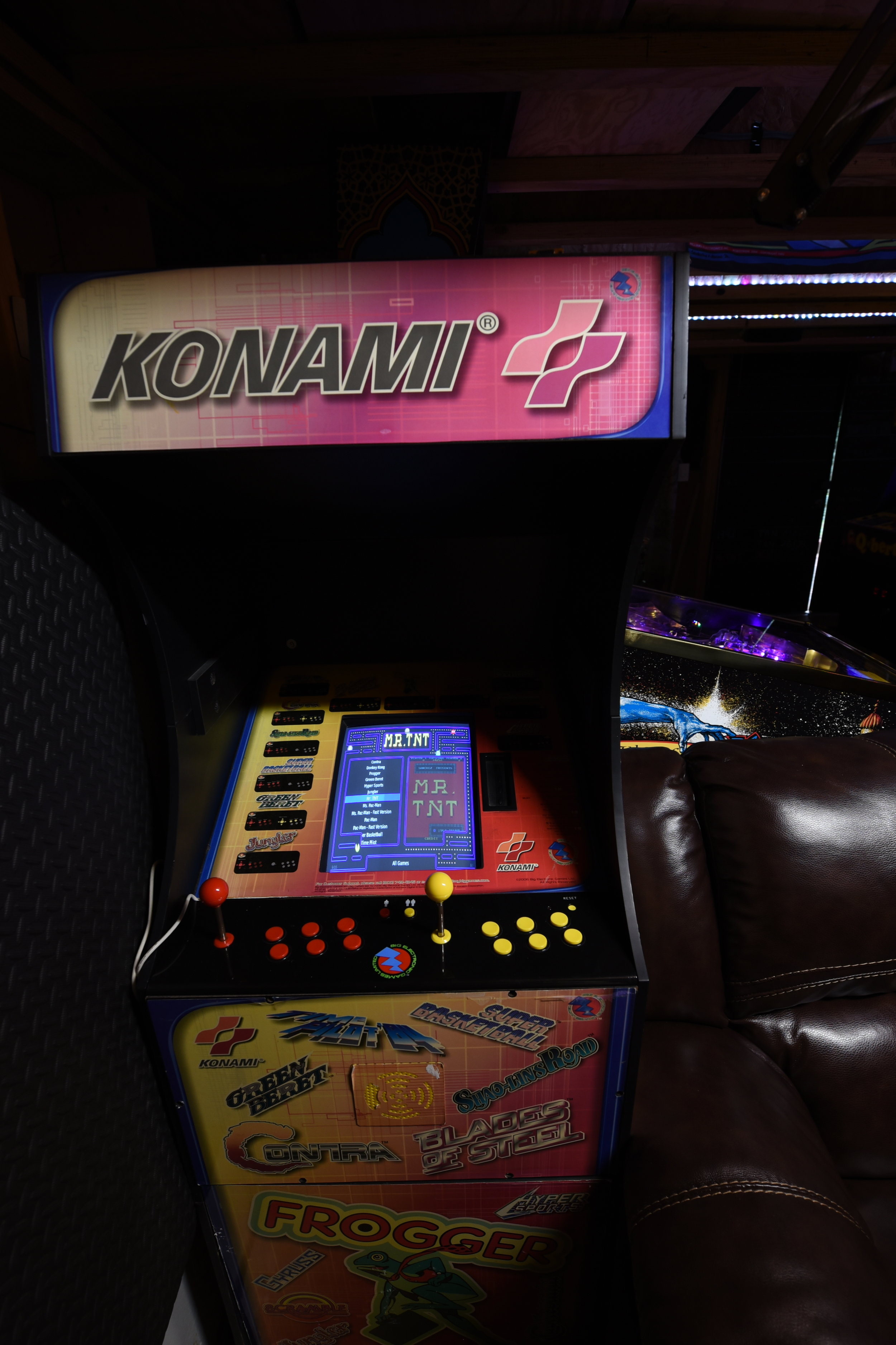 "After a few failed attempts at acquiring some cabarets, this happened. It started as a joke, re: ""Hey here's this thing, it's a piece of junk anyway and you won't owe it anything, just have fun with it."" Typically found for $100 or less, the Konami 12 in 1 is my RPi3 MAME cabinet for discovery and play of vertically oriented arcades. The 15"" VGA monitor and small cabinet footprint paired with the RaspberryJAMMA / ArPiCade setup are going to make it a pretty versatile little game that isn't taking up a ton of space. The Attract-Mode, Raspberry Pi-based Multi-MAME boot image is ridiculously customizable if you are comfortable with linux command-line and bash scripts. Converting it to JAMMA and using VGA to CGA adaptor, the front hatch access will make it a convenient test bench for JAMMA games. Currently working on building a different control panel with less-crappy stick and switches. I'd kinda like to find the Midway 12 in 1, equivalent horizontal cabinet now..."