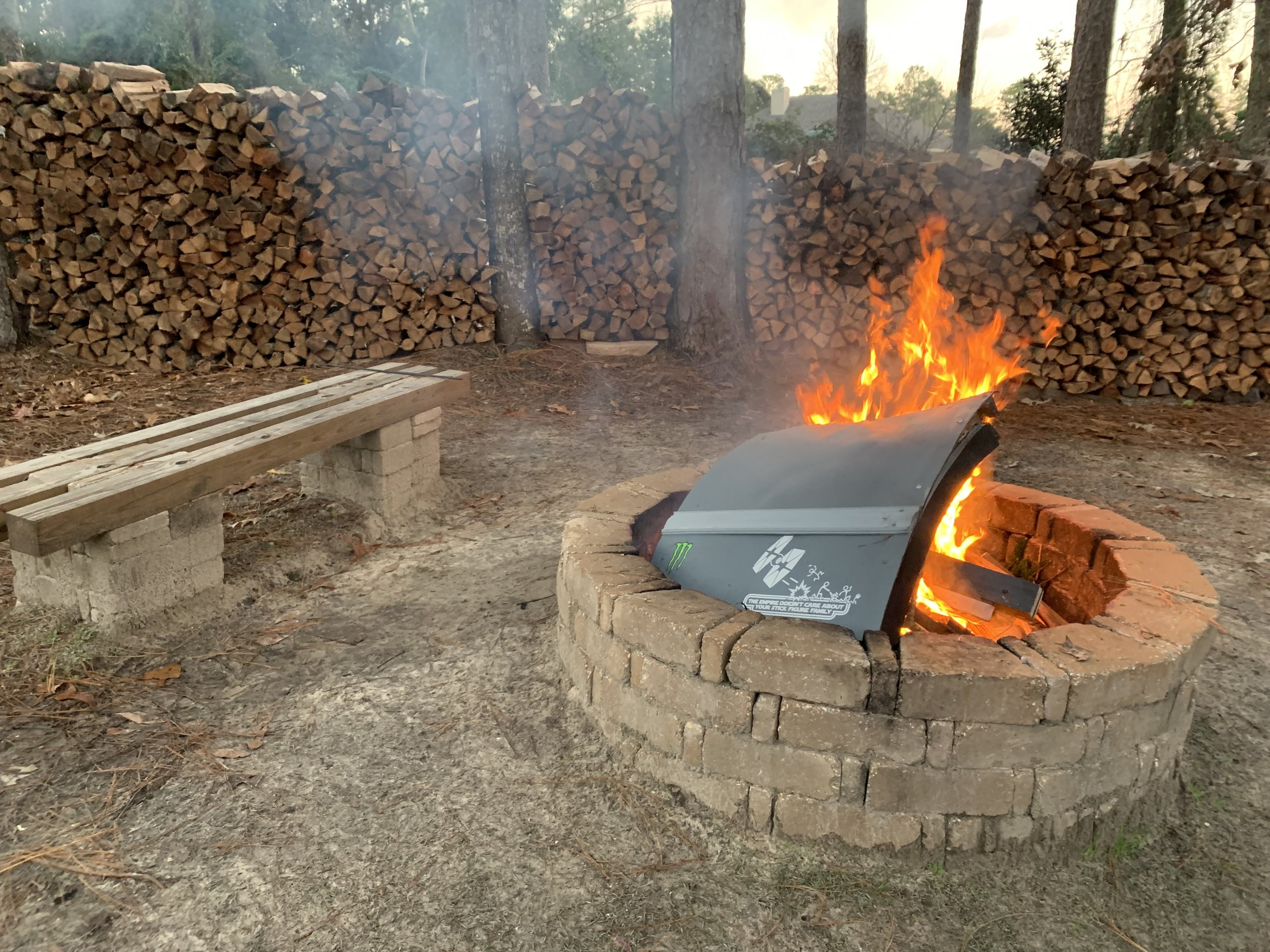 The home-made cabinet enclosure (that I was never fully satisfied with) cut into pieces and committed to fire..