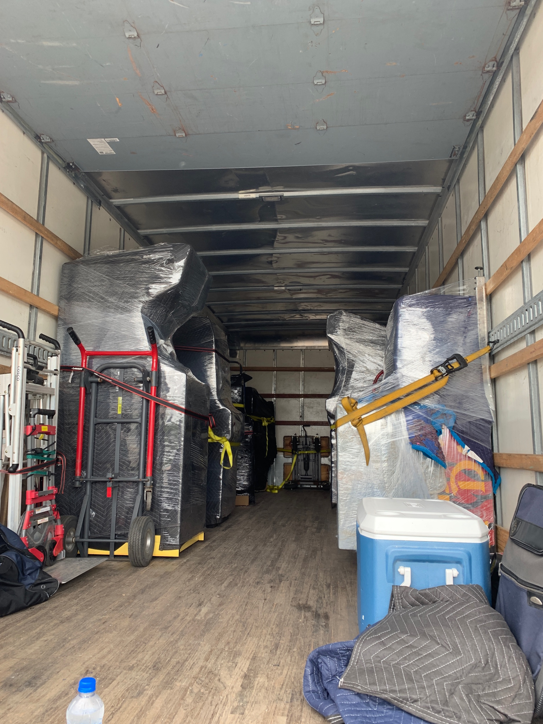 6 or so hours later, 9 games, 4 hand-trucks, a mars-rover & sundries are secured on the new truck and ready to roll!