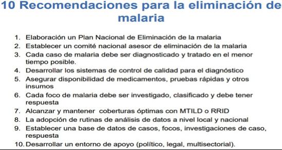 Recomendaciones expuestas por Daniel Vargas, consultor de Malaria de OPS/OMS en Venezuela