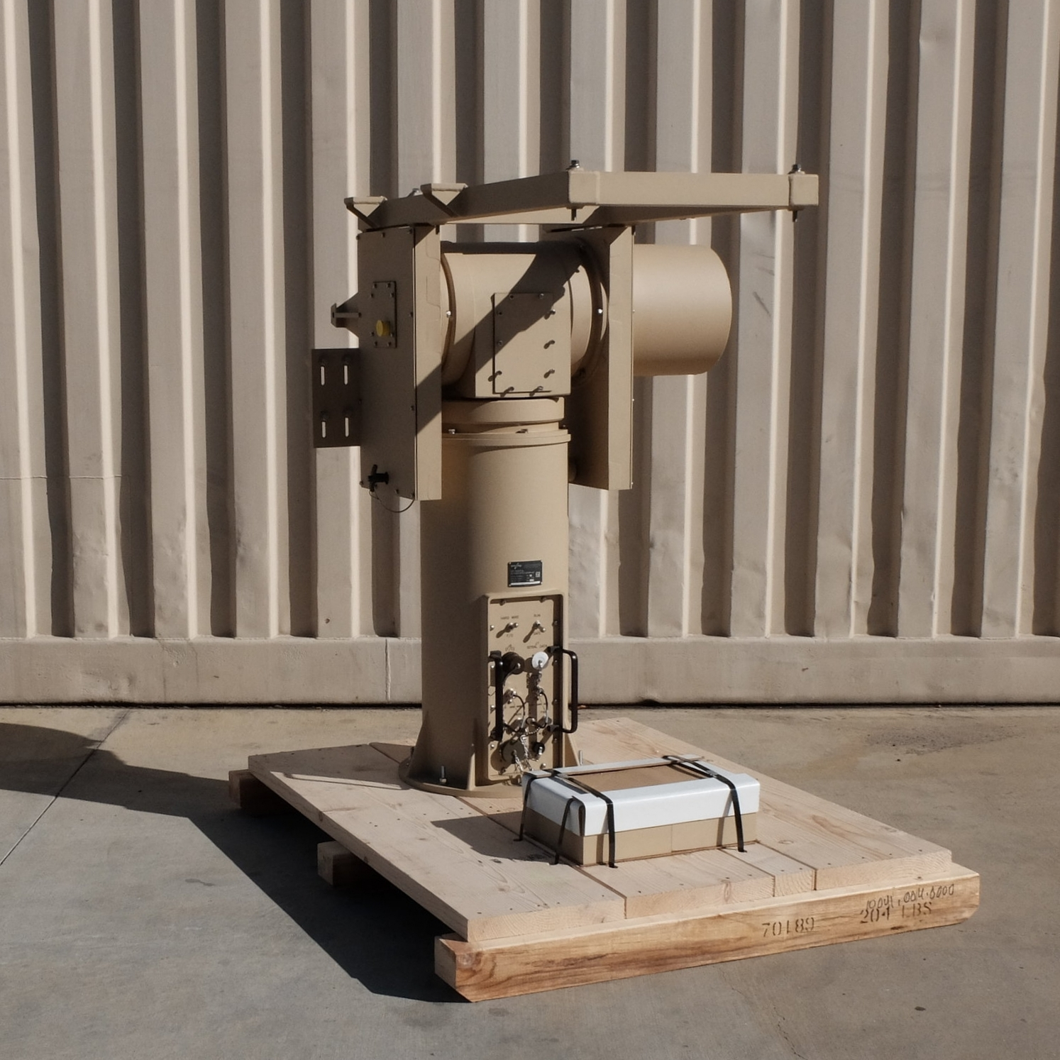 Serial No. 200 of RPM Model PG-1019B Series Elevation over Azimuth Antenna Pedestal ready for final crating/shipment