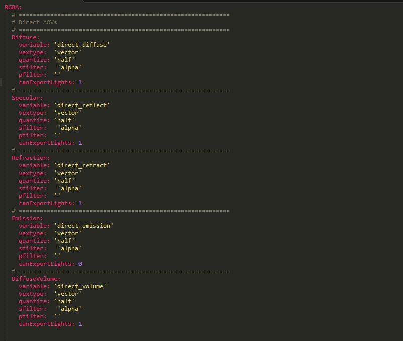 Screenshot of my default passes