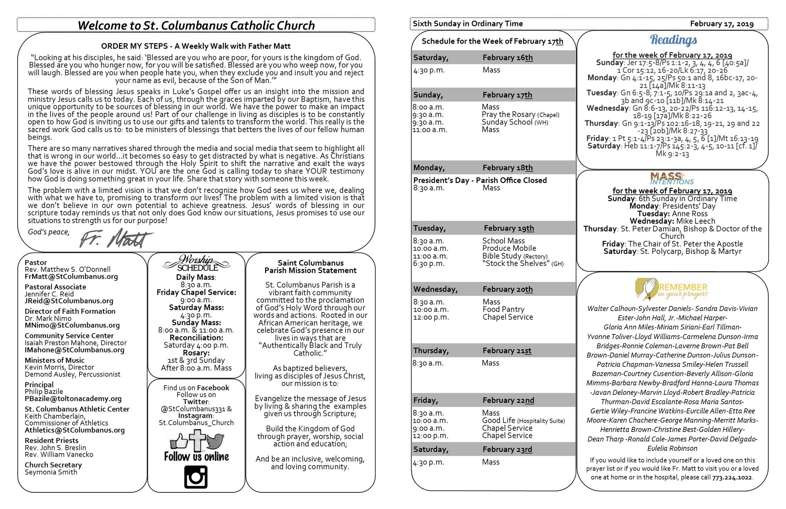 Weekly Bulletin — Saint Columbanus Catholic Church