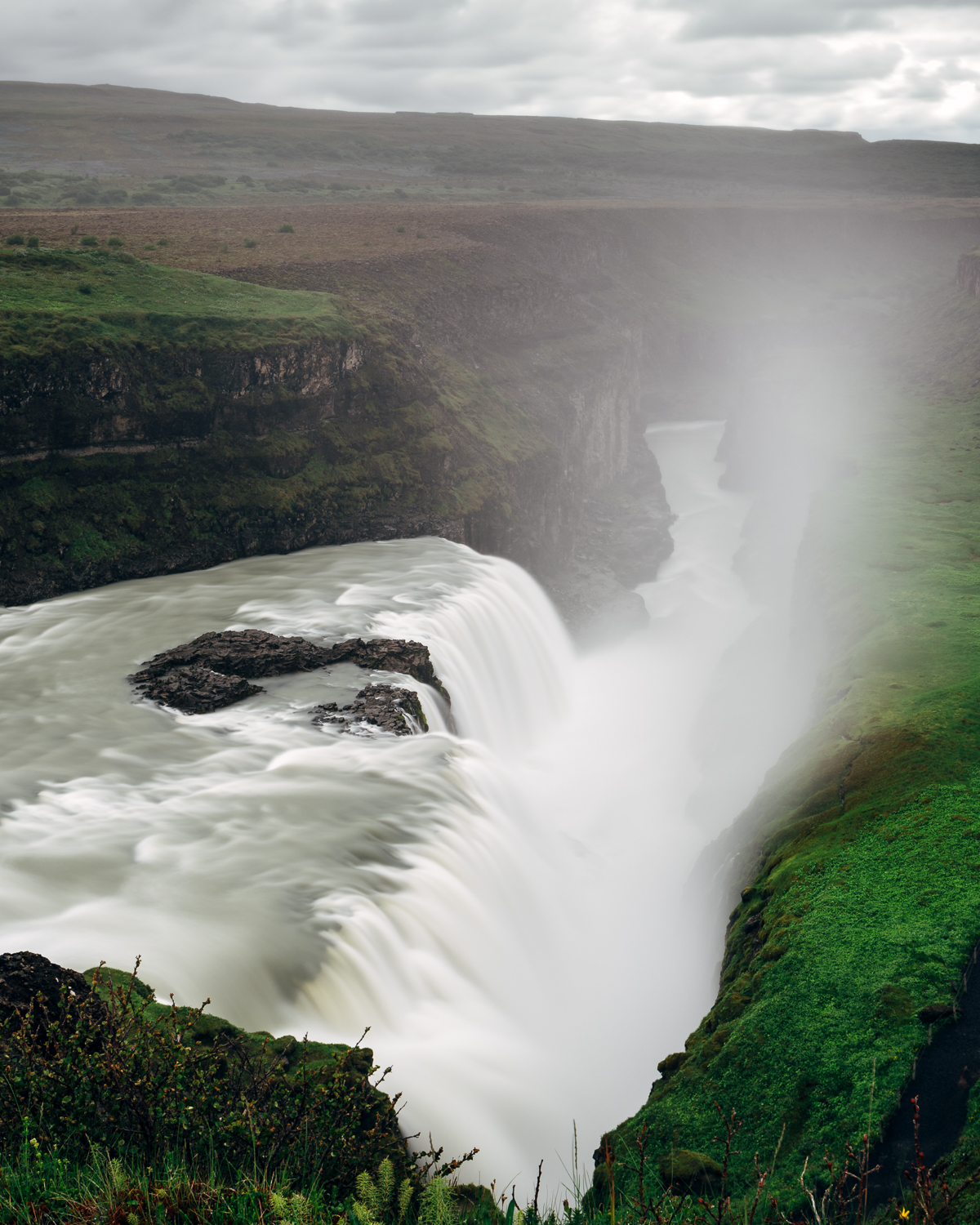 Another view of Gulfoss that shows the crevice where the water seems to disappear in the image above