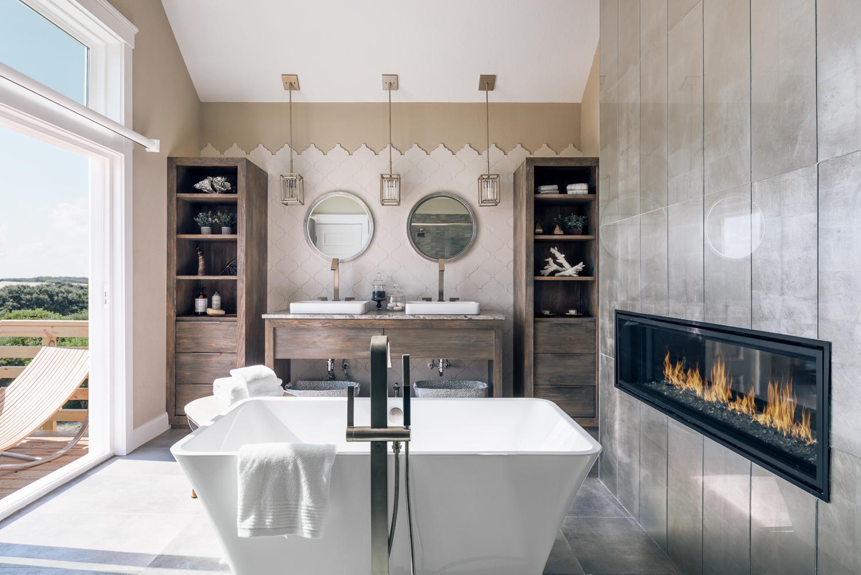 Outer Banks - NC - Modern Bathroom - Fireplace - Tub