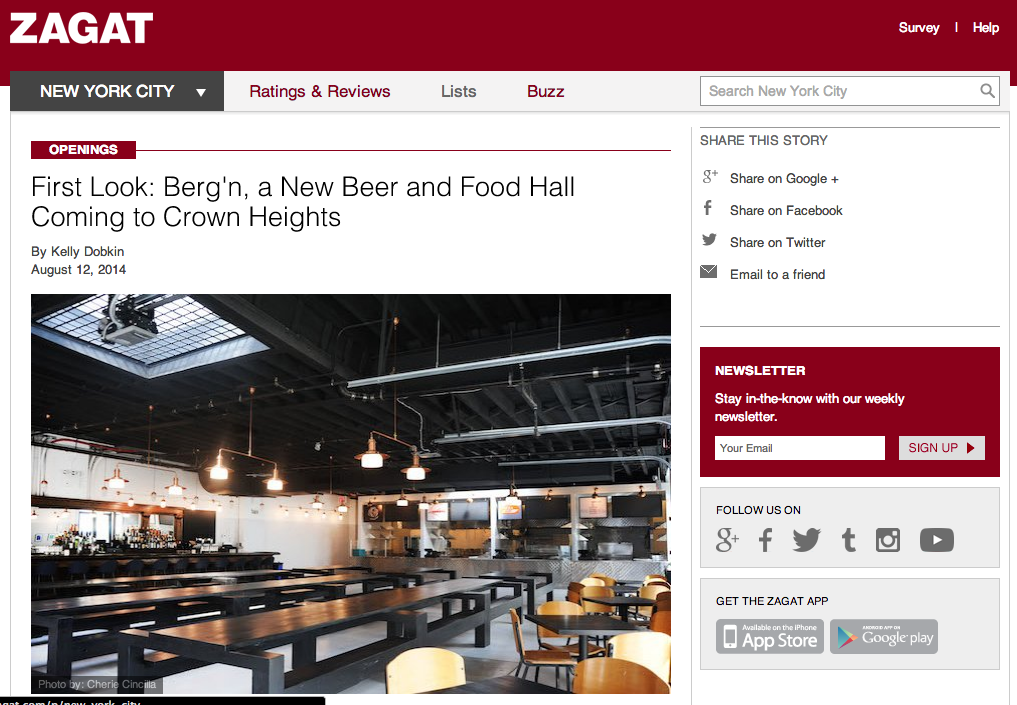 ZAGAT:   First Look: Berg'n, a New Beer and Food Hall Coming to Crown Heights