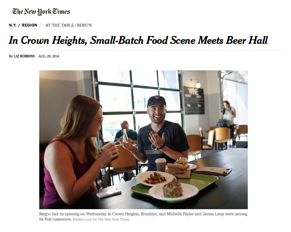 The New York TImes:   In Crown heights, Small-batch food scene meets beer hall