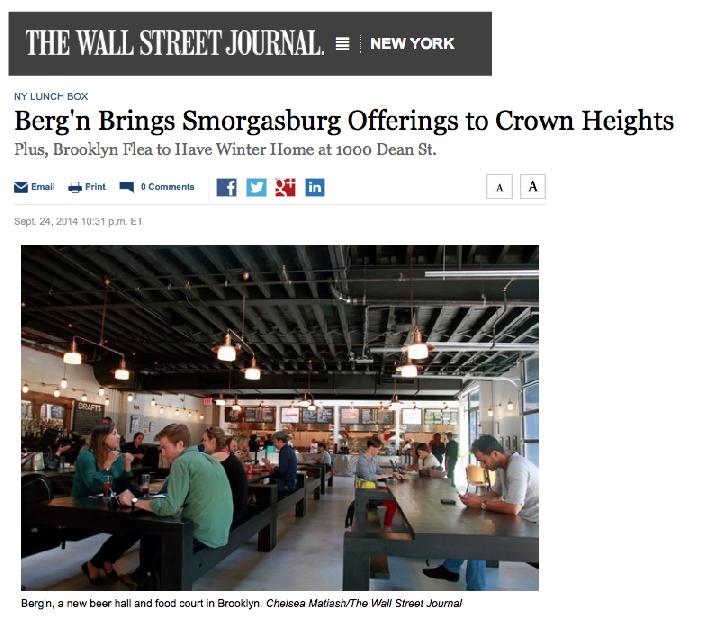 The Wall Street journal:    Berg'n Brings smorgasburg offerings to crown heights