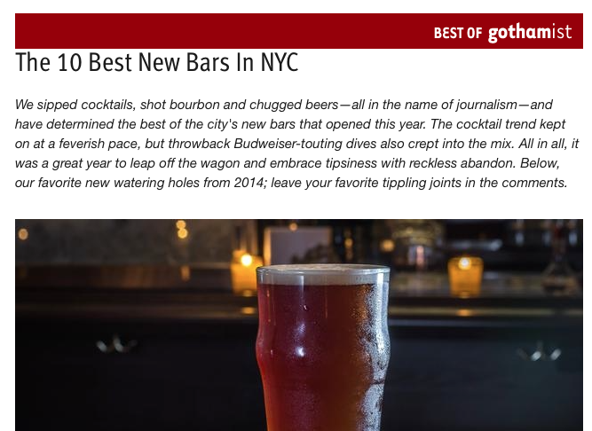 GOTHAMIST:   The 10 Best New Bars in nyc