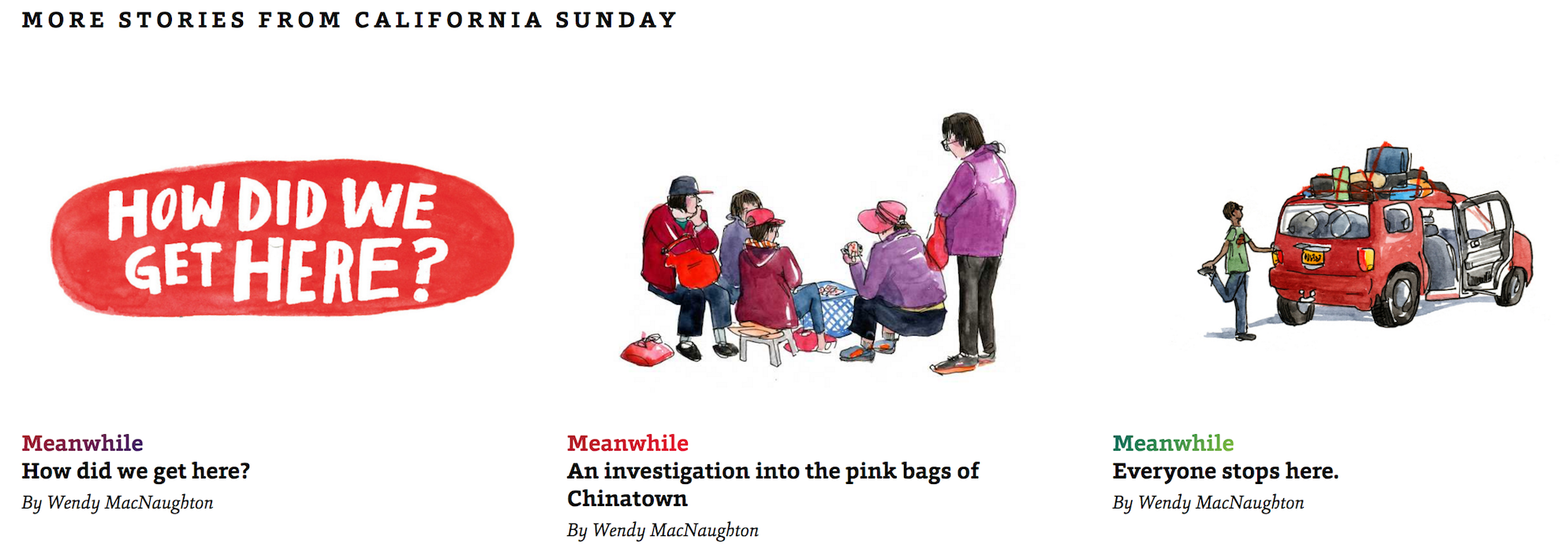 An assortment of illustrated stories from California Sunday.