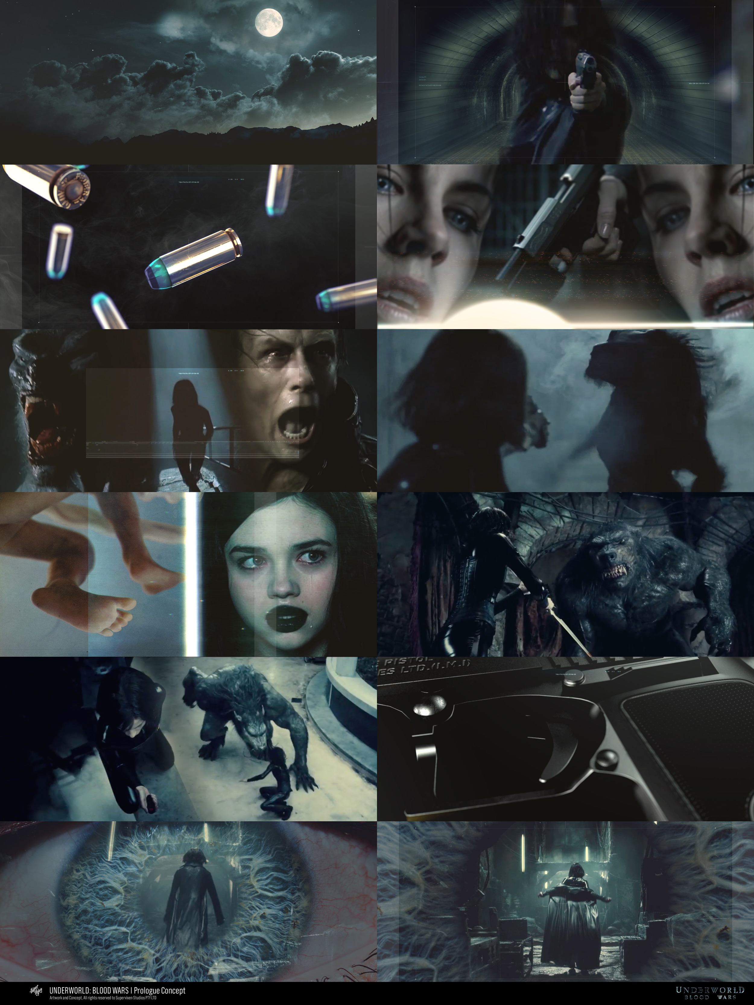 Early concept frames created during the inception of the Underworld: Blood Wars prologue.