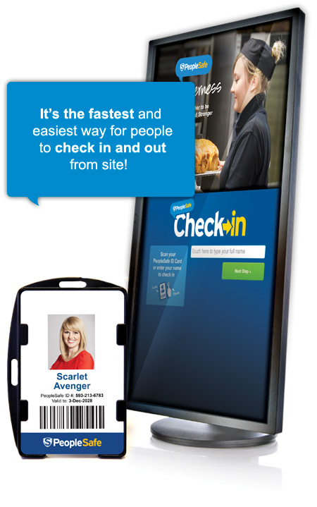 PeopleSafe Check-in ID Card - Health and Safety sign in register