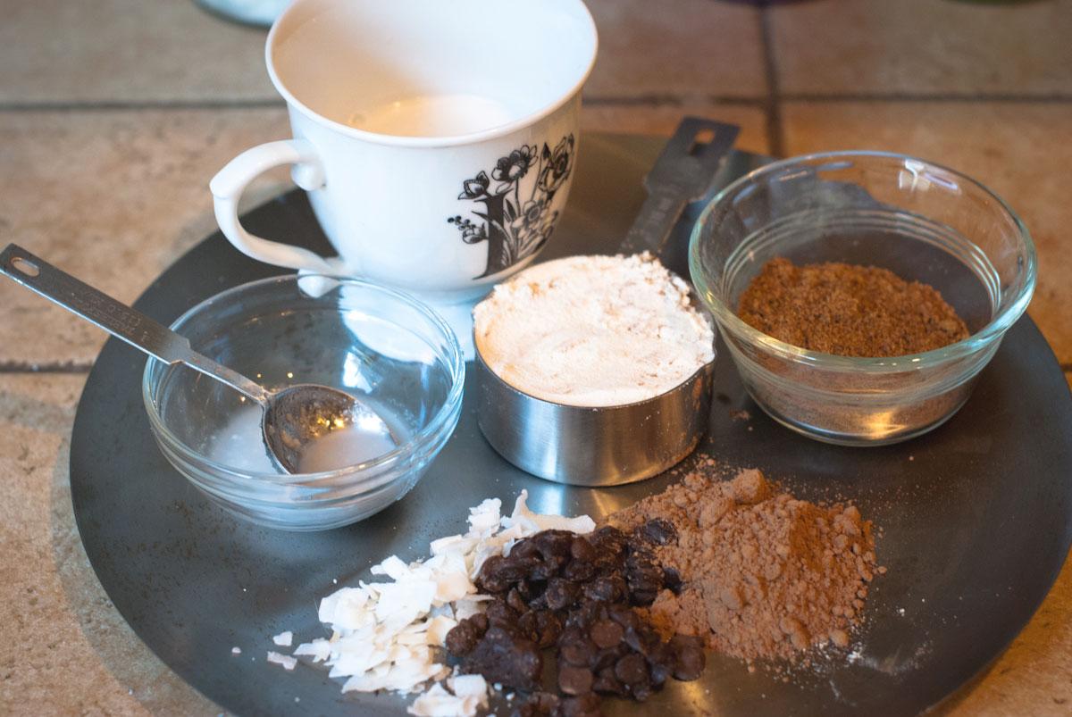 GRUB_5mCMC_PG2.Established California | Grub | Five Minute Chocolate Mug Cake | Ingredients