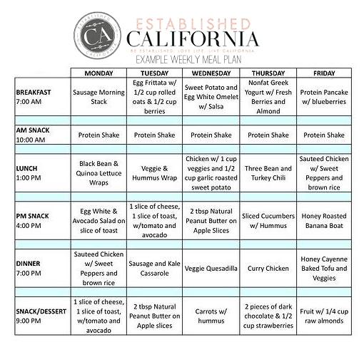 Established California   Health   Tips for Success   Meal Prep