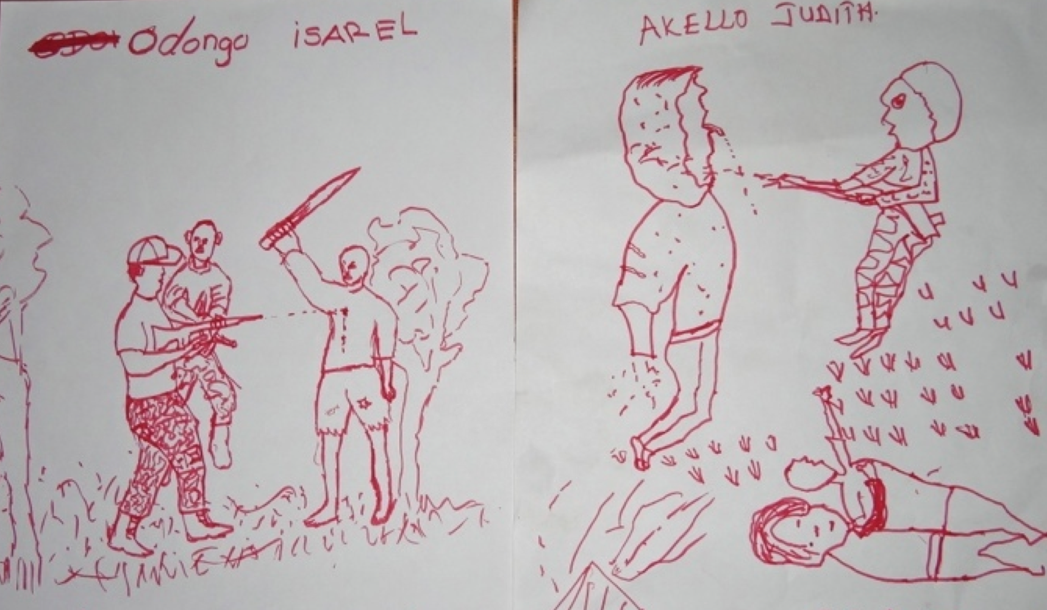 Illustrations by former child soldiers Odongo Isarel and Akello Judith, Children of Peace Uganda.