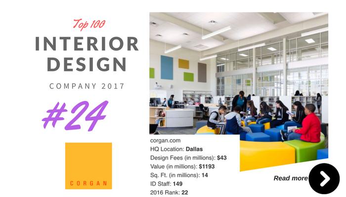 top 100 interior design company corgan