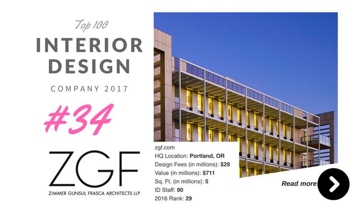 top 100 interior design company ZGF