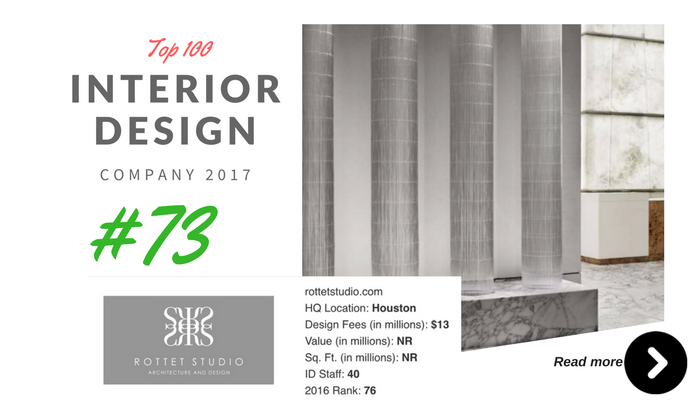 top 100 interior design company rottet studio
