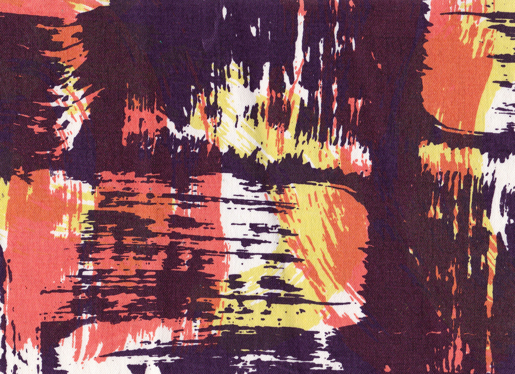 Three colour screen print on cotton for fashion label HMH Couture, launching later this year