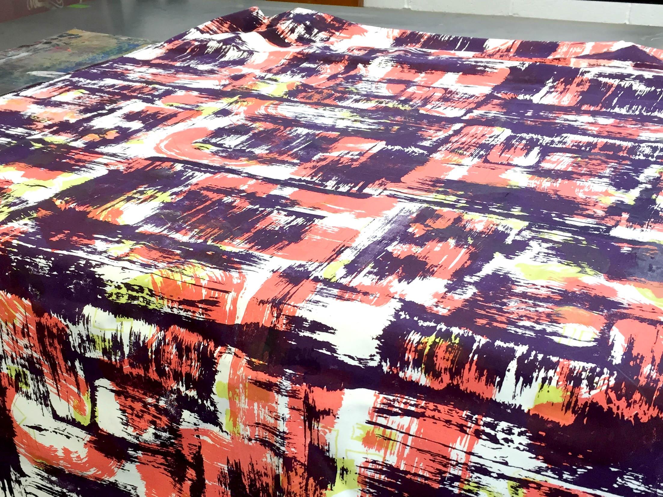 3m run of the three colour print onto cotton