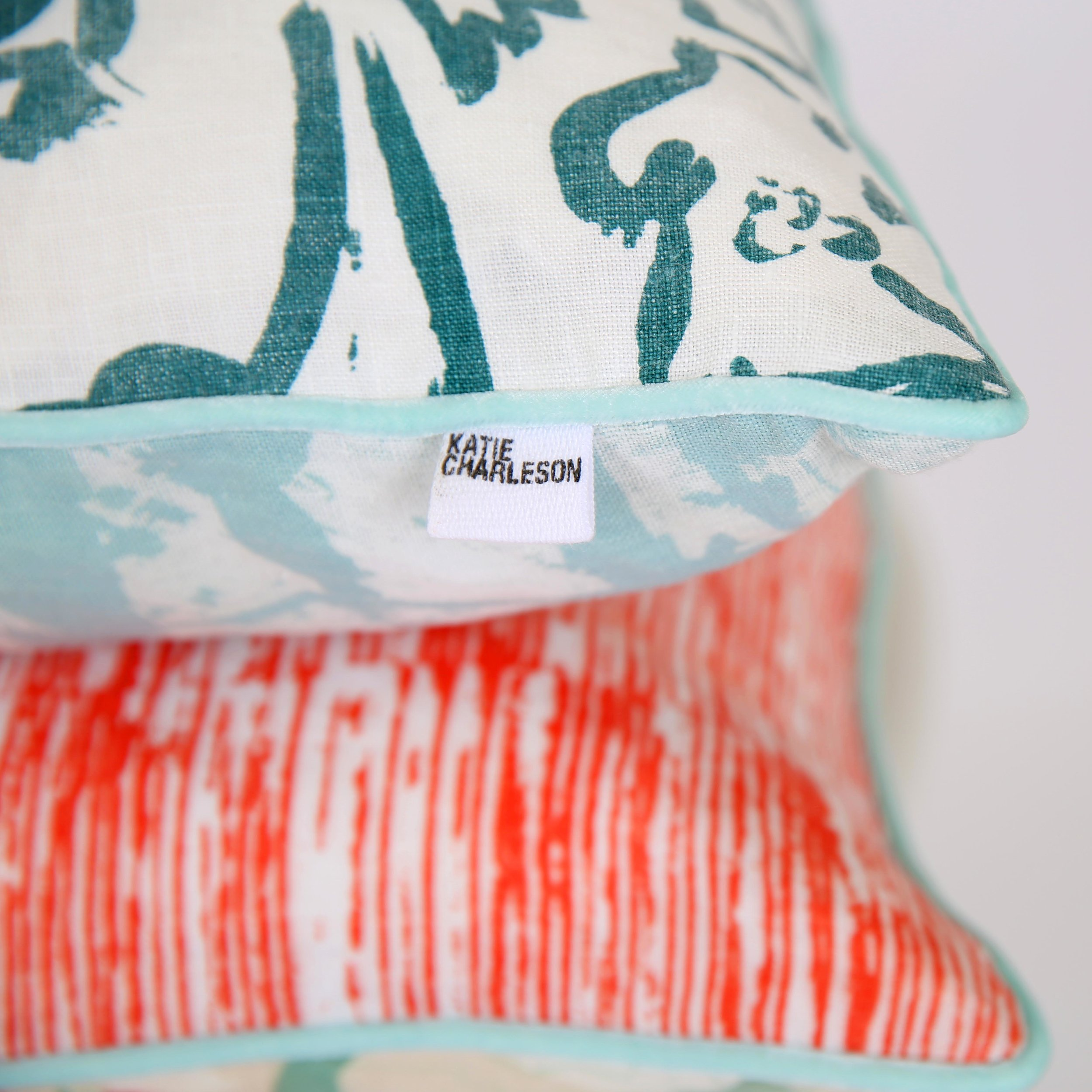 Wildflower Teal  &  Stephanie  screen printed cushions
