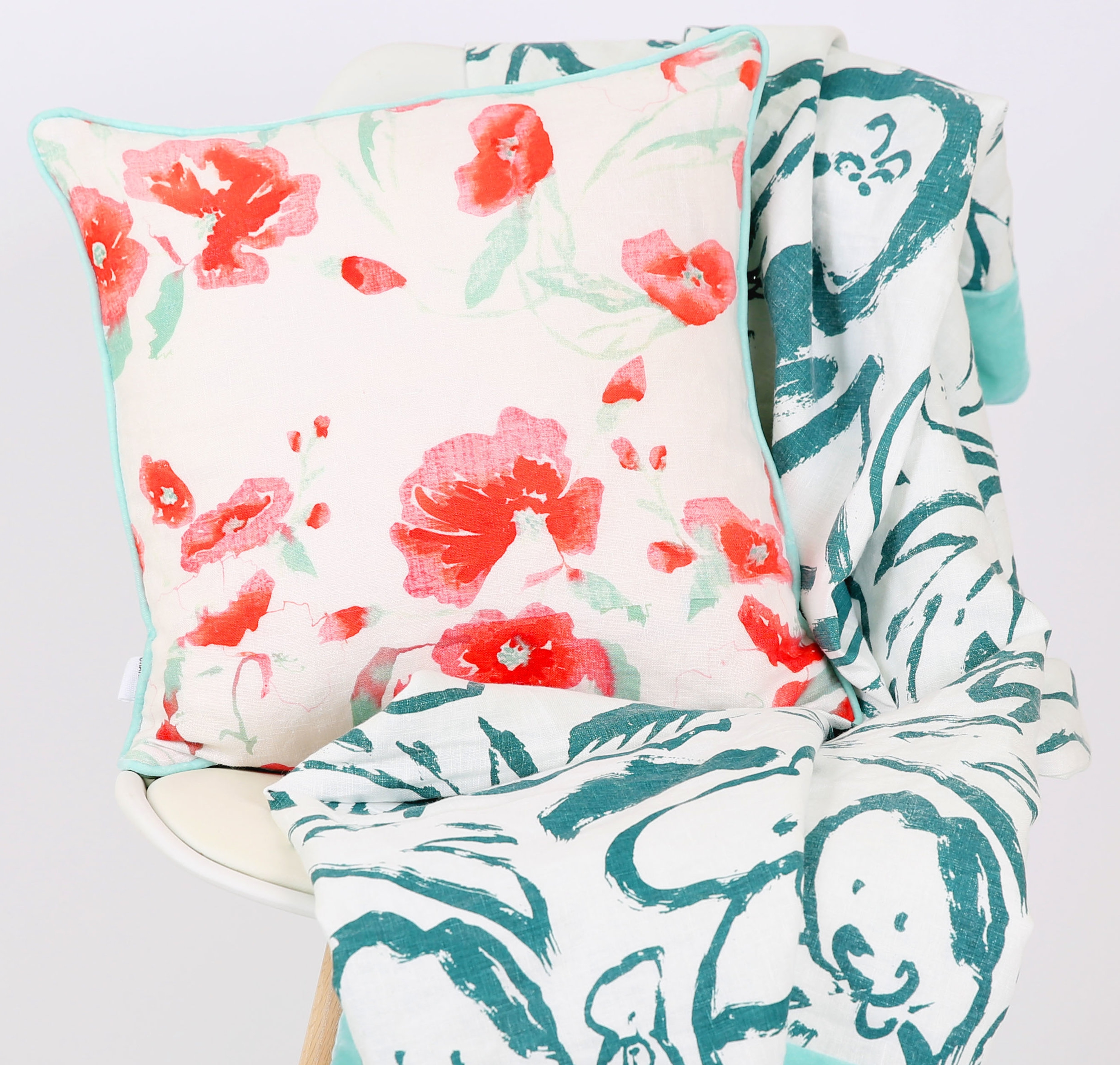 Rosehip & Poppy   throw &  Hannah Rose      cushion