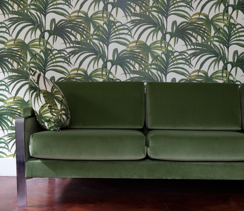 House of Hackney   Palmeral wallpaper with  Martello  velvet sofa