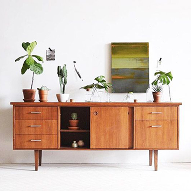 Midcentury side board & greenery: a winning combination