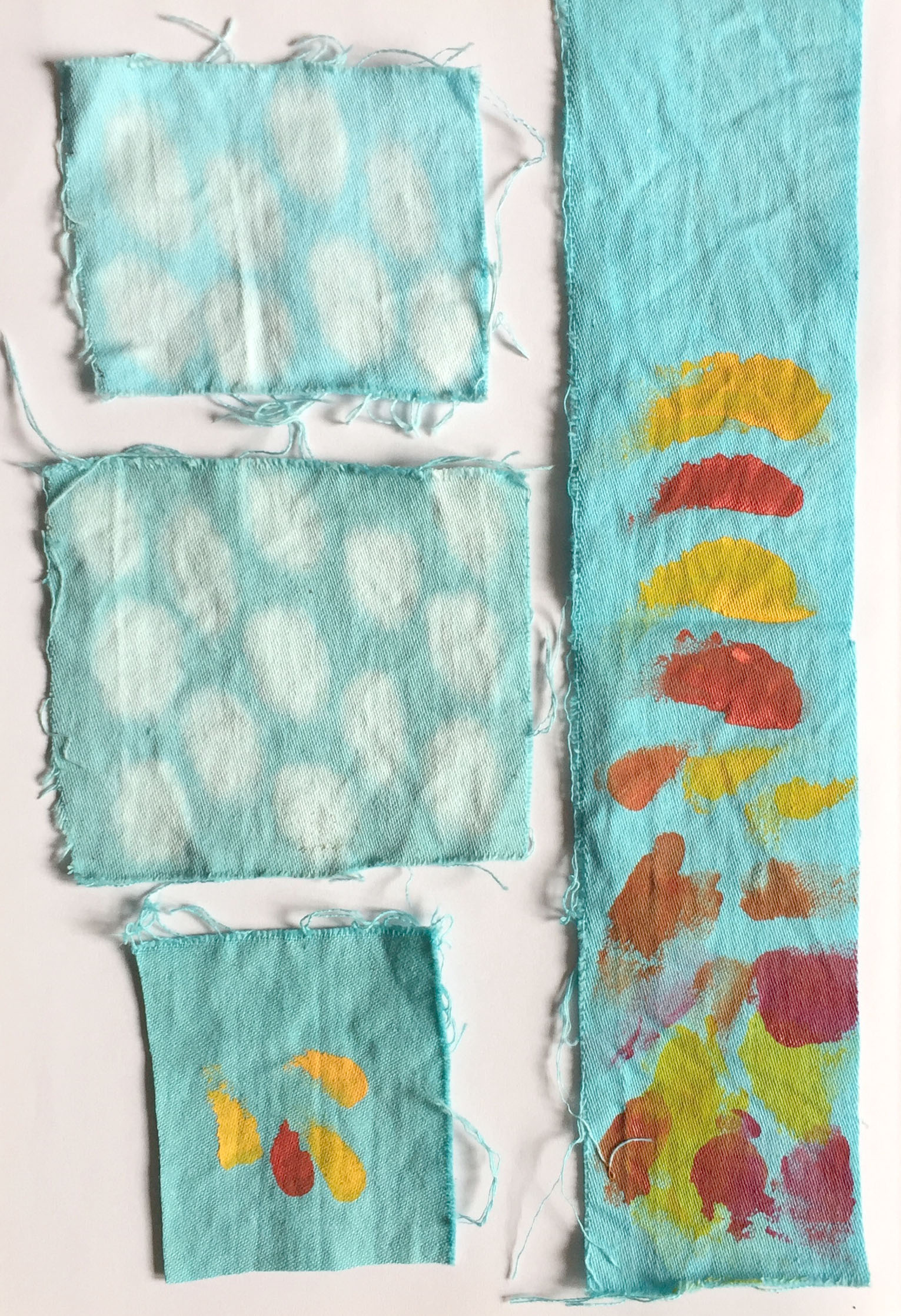 Bright, cheery colour samples in progress