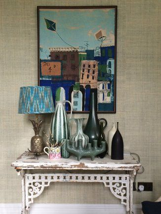 A beautiful collection of eclectic artwork and objects in Ferney Hall, balanced with colour and shape. Photo credit  House & Garden