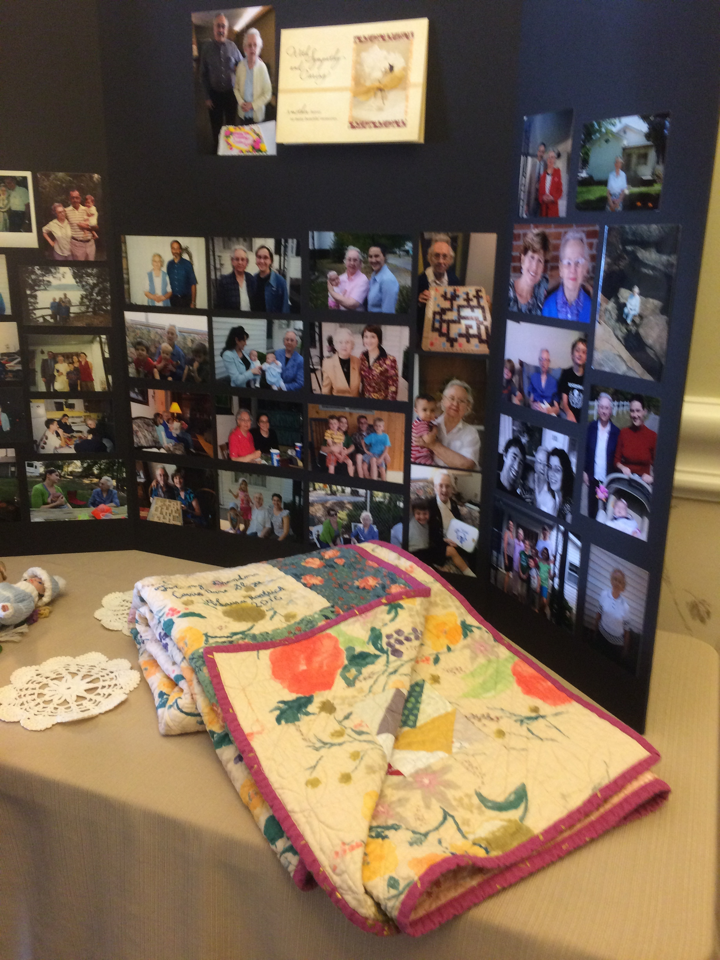 the quilt displayed at her funeral