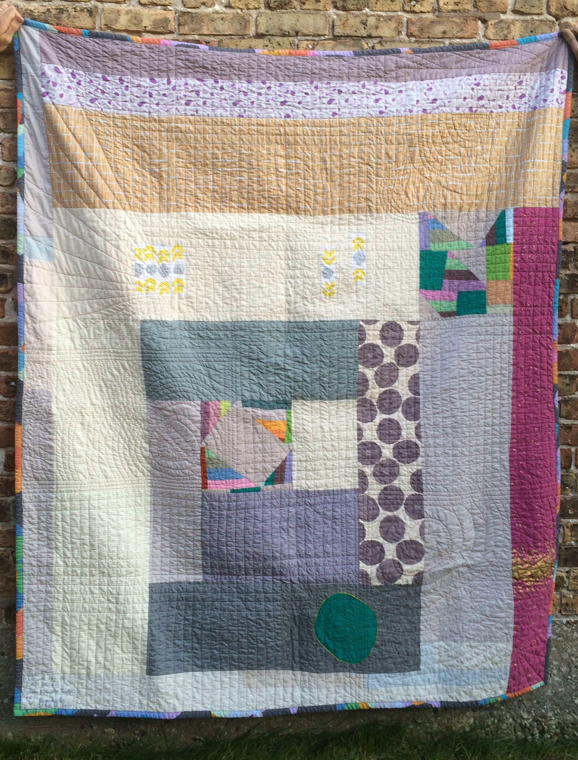 I did a huge log cabin block for the back of the quilt.