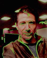 Richard Marggraf Turley photographed using 'edge capture' surveillance software.