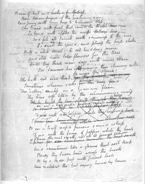 A manuscript draft of Keats's poem 'To Autumn' (from  Wikipedia )