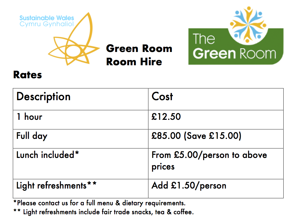 Hire tariff for the Green Room space.