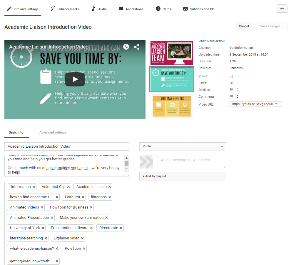 The Info and Settings screen for the PowToon video in YouTube