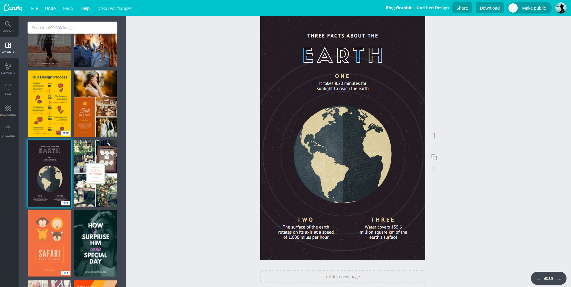The Canva interface