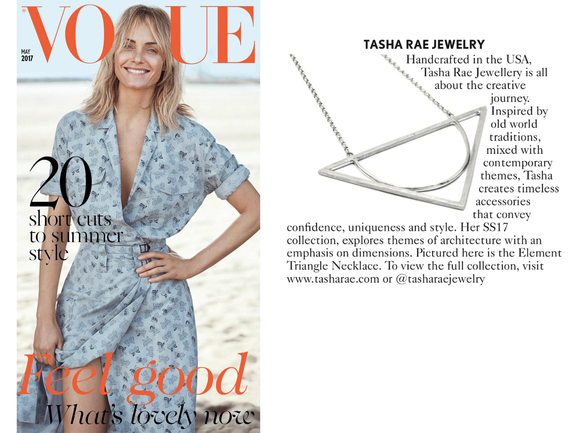 Tasha Rae Jewelry featured in British Vogue, May 2017
