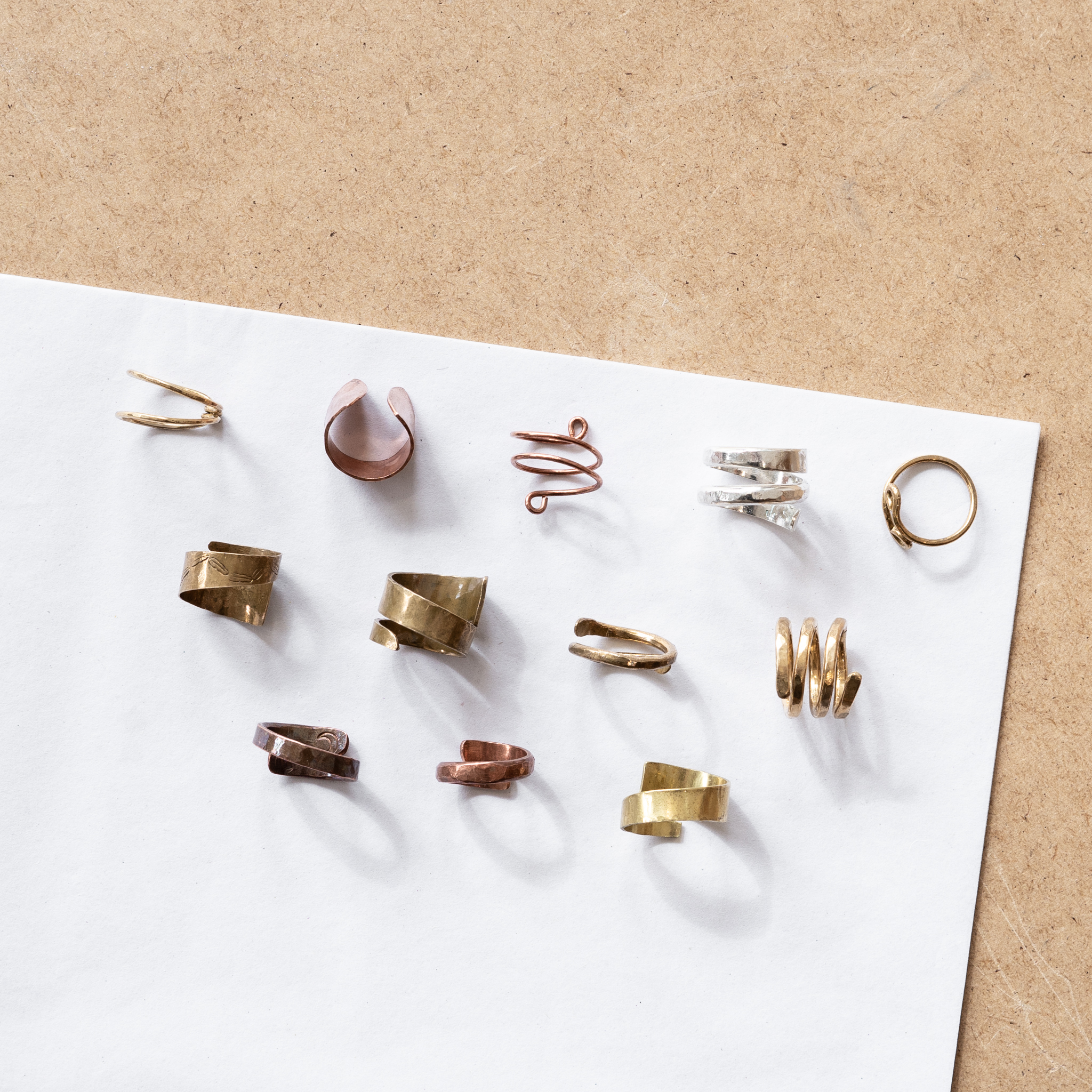 Wrap Ring Class - $45 (brass/copper) $65 (silver)Work with wire or sheet metal to create a ring that wraps around the finger (not soldered) (*easy to gift, as wrap rings allow for some flexibility in size!).