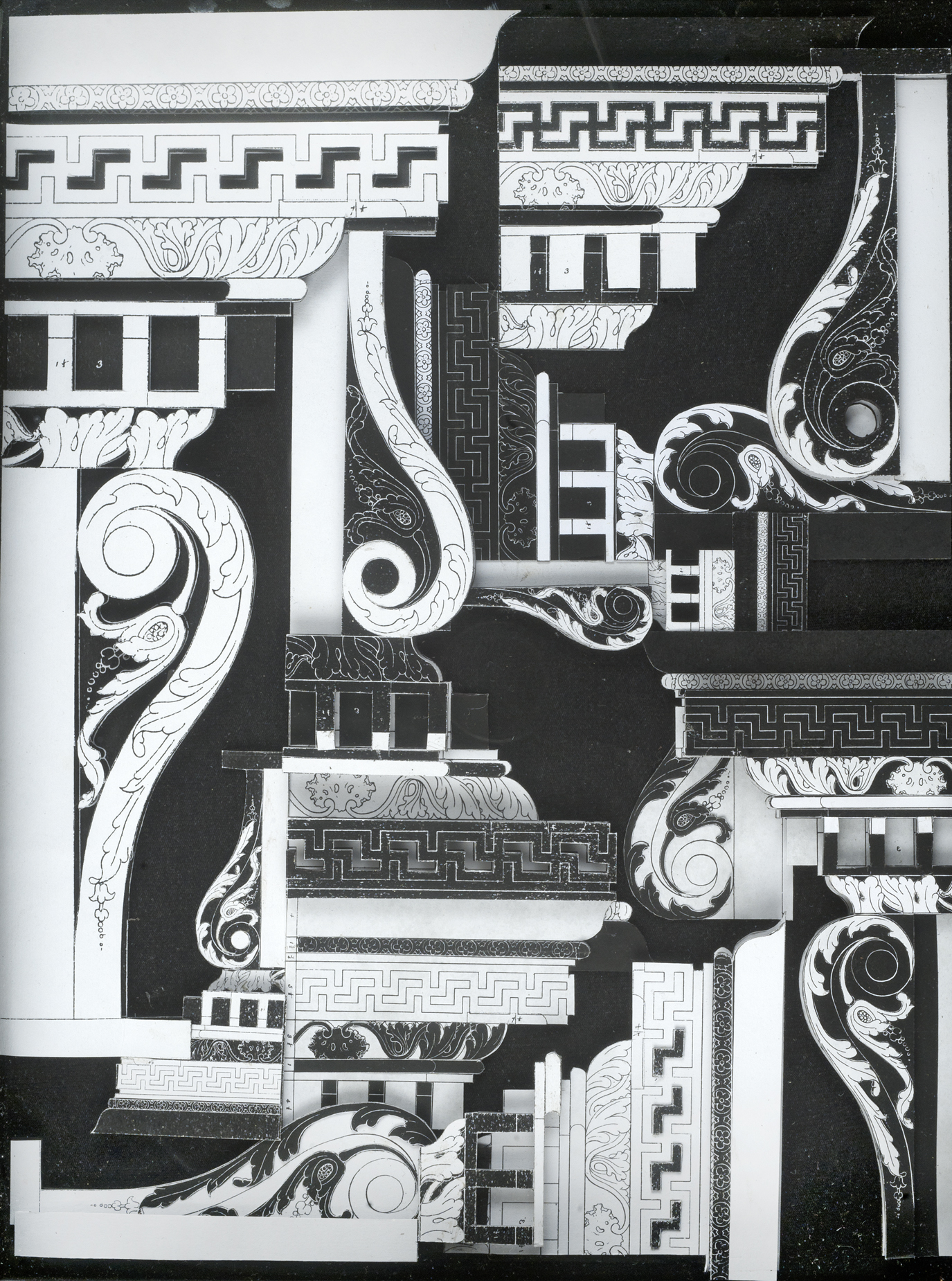 Column Cap in Black and White #2