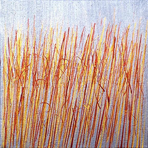 """Gold and Copper on Silver"" 10in x 10in by Mary D. Ott"