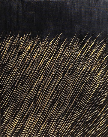 """Gold on Black"" 30in X 24in Acrylic by Mary D. Ott"