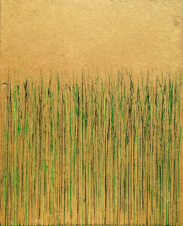 """Green on Gold"" 30"" (h) x 24"" (w) painting by Mary D. Ott"