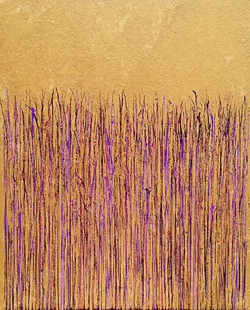 """Purple on Gold"" 30in. x 24in. painting by Mary D. Ott"