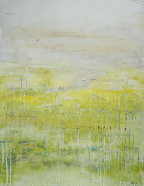 """Awaken"",   Mixed media on canvas, 48""h x 24""w"